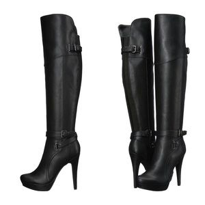 🆕NIB Knee-High Faux-Leather High Heel Black Boots